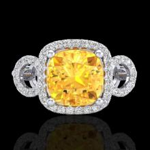 Natural 3.75 CTW Citrine & Micro Pave Diamond Certified Ring 18K Gold - 22998-REF#69X8A