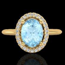 Natural 1.50 CTW Aquamarine & Micro Pave Diamond Bridal Ring Solitaire Halo 18K Gold - 21002-REF#48T3X