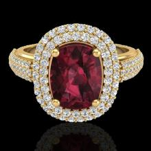 Genuine 3.10 CTW Garnet & Micro Pave Diamond Certified Halo Ring 10K Gold - 20713-REF#75R2Z