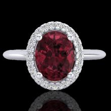 Natural 1.75 CTW Garnet & Micro Pave Diamond Bridal Ring Solitaire Halo 18K Gold - 21012-REF#43F6M