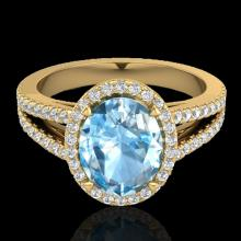 Natural 3.0 CTW Sky Blue Topaz & Micro Pave Diamond Halo Solitaire Bridal Ring 18K Gold - 20934-REF#55V5F