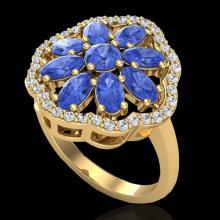 Natural 3.0 CTW Tanzanite & Diamond Certified Cluster Designer Halo Ring Gold - 20790-REF#48Z7Y
