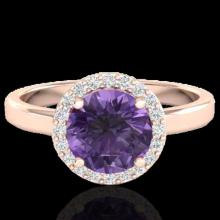 Natural 2.0 CTW Amethyst & Halo Diamond Micro Pave Ring Solitaire Bridal 14K Gold - 21616-REF#41G2W