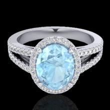 Natural 3.0 CTW Aquamarine & Micro Pave Diamond Halo Solitaire Bridal Ring 18K Gold - 20930-REF#66M3H