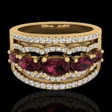 Genuine 2.25 CTW Garnet & Micro Pave Diamond Certified Designer Ring 10K Gold - 21039-REF#59M5H