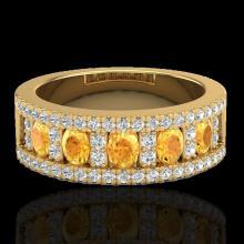 Genuine 2.0 CTW Citrine & Micro Pave Diamond Certified Inspired B& Ring 10K Gold - 20823-REF#48V5F