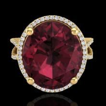 Natural 10 CTW Garnet & Micro Pave Diamond Certified Halo Ring 18K Gold - 20964-REF#75Z3Y