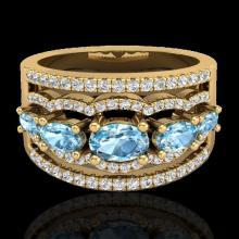 Natural 2.25 CTW Sky Blue Topaz & Micro Pave Diamond Certified Designer Ring Gold - 20796-REF#59M5H