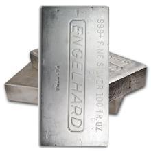 One piece 100 oz 0.999 Fine Silver Bar Engelhard