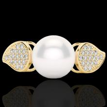 0.27 CTW Micro Pave VS/SI Diamond Certified & Pearl Designer Ring 18K Gold - 22645-REF-45M3R