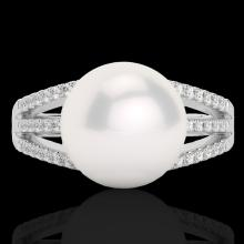 0.30 CTW Micro Pave VS/SI Diamond Certified & Pearl Designer Ring 18K Gold - 22629-REF-49N6Y
