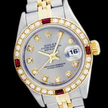 Rolex Ladies Two Tone 14K Gold/SS, Diam Dial & Diam/Ruby Bezel, Saph Crystal - REF-363X3A