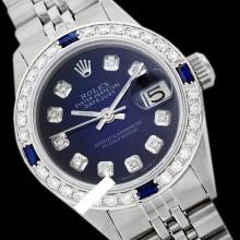 Rolex Ladies Stainless Steel, Diam Dial & Diam/Sapphire Bezel, Saph Crystal - REF-360W2K
