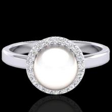 0.25 CTW Micro Pave Halo VS/SI Diamond & White Pearl Ring 18K Gold - 21646-REF-48R4N
