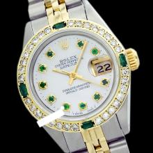 Rolex Ladies Stainless Steel, Diam Dial & Diam/Emerald Bezel, Saph Crystal - REF-368H7W