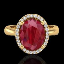 Genuine 3.0 CTW Ruby And Micro Pave Diamond Certified Ring Halo 18K Gold - 21113-REF#38X8A