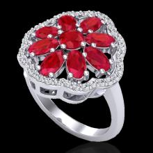 Natural 4.0 CTW Ruby & Diamond Certified Cluster Designer Halo Ring 10K Gold - 20784-REF#45A5N