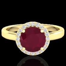 Natural 2.0 CTW Ruby & Halo Diamond Micro Pave Ring Solitaire Bridal 18K Gold - 21642-REF#49X3A