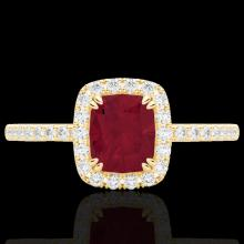Genuine 1.25 CTW Ruby & Micro Pave Diamond Certified Halo Ring 10K Gold - 22909-REF#25W8K