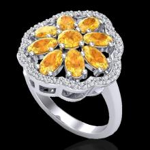 Genuine 3.0 CTW Citrine & Diamond Certified Cluster Designer Halo Ring Gold - 20777-REF#44H2R