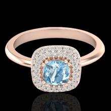 Natural 1.16 CTW Sky Blue Topaz & Micro Pave Diamond Ring Solitaire Halo 14K Gold - 21022-REF#56X3A