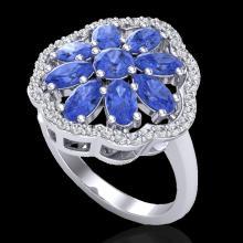 Genuine 3.0 CTW Tanzanite & Diamond Certified Cluster Designer Halo Ring Gold - 20789-REF#48K7T