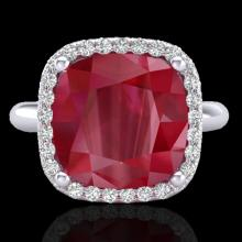 Natural 6.0 CTW Ruby & Micro Pave Halo Diamond Certified Ring Solitaire 18K Gold - 23102-REF#53X2A