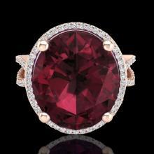 Natural 10 CTW Garnet & Micro Pave Diamond Certified Halo Ring 14K Gold - 20962-REF#61M8H