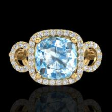 Natural 3.75 CTW Topaz & Micro Pave Diamond Certified Ring 18K Gold - 23014-REF#69F8M