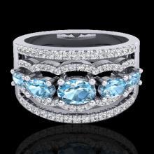 Genuine 2.25 CTW Sky Blue Topaz & Micro Pave Diamond Certified Designer Ring Gold - 20795-REF#59N5G
