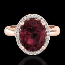 Genuine 2.50 CTW Garnet & Micro Pave Diamond Certified Ring Halo 14K Gold - 21105-REF#33R5Z