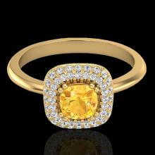 Genuine 1.16 CTW Citrine & Micro Pave Diamond Ring Solitaire Double Halo 18K Gold - 21027-REF#66X8A
