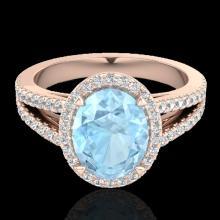 Genuine 3.0 CTW Aquamarine & Micro Pave Diamond Halo Solitaire Bridal Ring 14K Gold - 20929-REF#66T7X