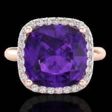 Natural 6.0 CTW Amethyst & Micro Pave Halo Diamond Ring Solitaire 14K Gold - 23092-REF#43W3K
