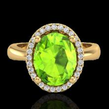 Genuine 2.50 CTW Peridot & Micro Pave Diamond Certified Ring Halo 18K Gold - 21111-REF#42A2N