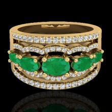 Genuine 2.25 CTW Emerald & Micro Pave Diamond Certified Designer Ring 10K Gold - 20801-REF#59K5T