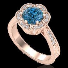 1.33 CTW Fancy Intense Blue Diamond Solitaire Art Deco Ring 18K Gold - REF-227N3A - 37958