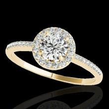 1.2 CTW H-SI/I Certified Diamond Solitaire Halo Ring Gold - REF-150N9A - 33501
