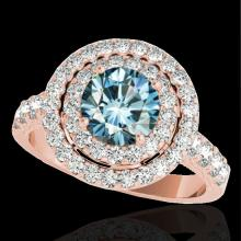 2.25 CTW Si Certified Fancy Blue Diamond Solitaire Halo Ring Gold - REF-218A2N - 34217