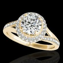 1.6 CTW H-SI/I Certified Diamond Solitaire Halo Ring Gold - REF-178W2H - 34116