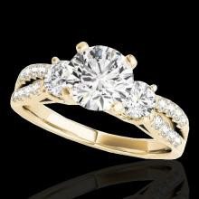 1.5 CTW H-SI/I Certified Diamond 3 Stone Ring Gold - REF-172M7F - 35405