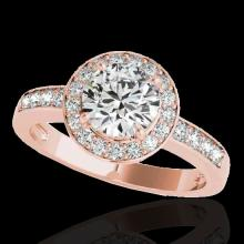2 CTW H-SI/I Certified Diamond Solitaire Halo Ring Gold - REF-355Y5X - 34352