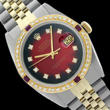 Rolex Men's Two Tone 14K Gold/SS, QuickSet, Diam Dial & Diam/Ruby Bezel - REF-474R5Z