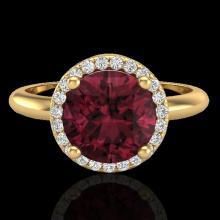 2.70 CTW Garnet & Micro Pave VS/SI Diamond Ring Designer Halo 18K Yellow Gold - REF-49X3T - 23213