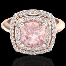 1.92 CTW Morganite & Micro VS/SI Diamond Pave Halo Ring 14K Rose Gold - REF-68N9Y - 20764