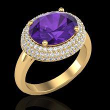 4 CTW Amethyst & Micro Pave VS/SI Diamond Ring 18K Yellow Gold - REF-98K5W - 20903