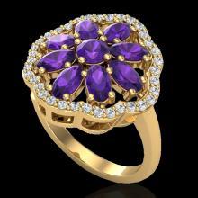 3 CTW Amethyst & VS/SI Diamond Cluster Designer Halo Ring 10K Yellow Gold - REF-52F2N - 20772