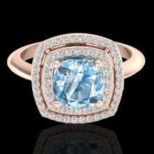 2.02 CTW Sky Blue Topaz & Micro VS/SI Diamond Halo Ring 14K Rose Gold - REF-60N2Y - 20753