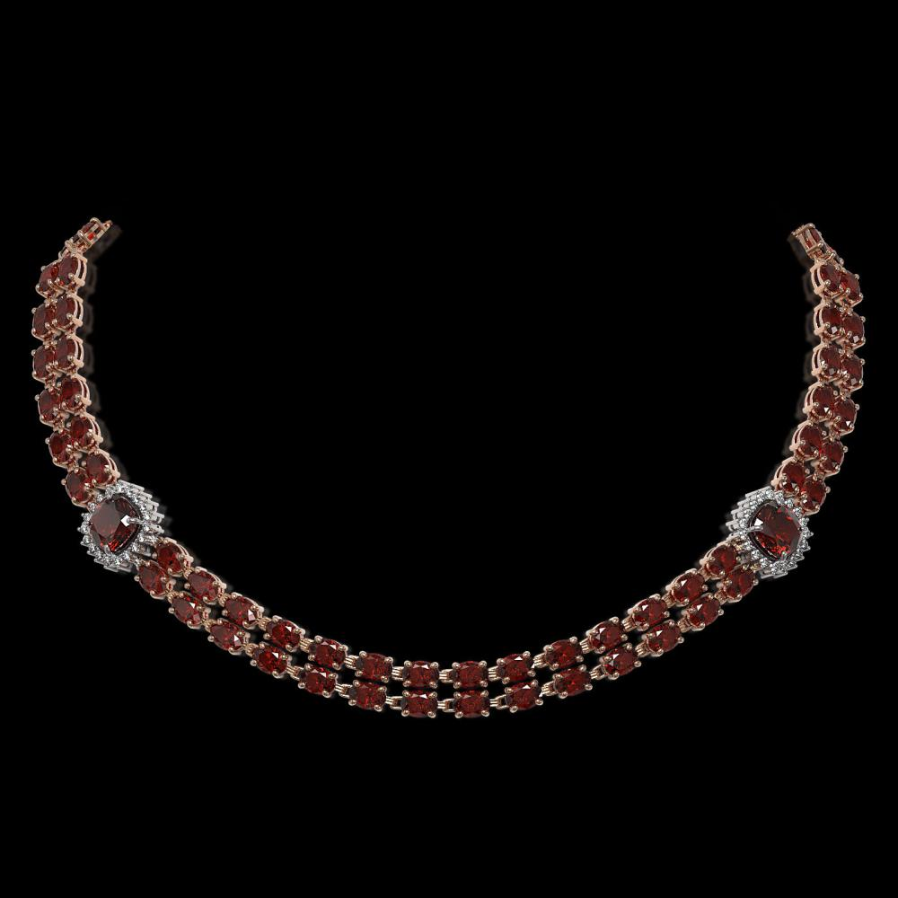 33.54 ctw Garnet & Diamond Necklace 14K Rose Gold - REF-377M6F - SKU:44727