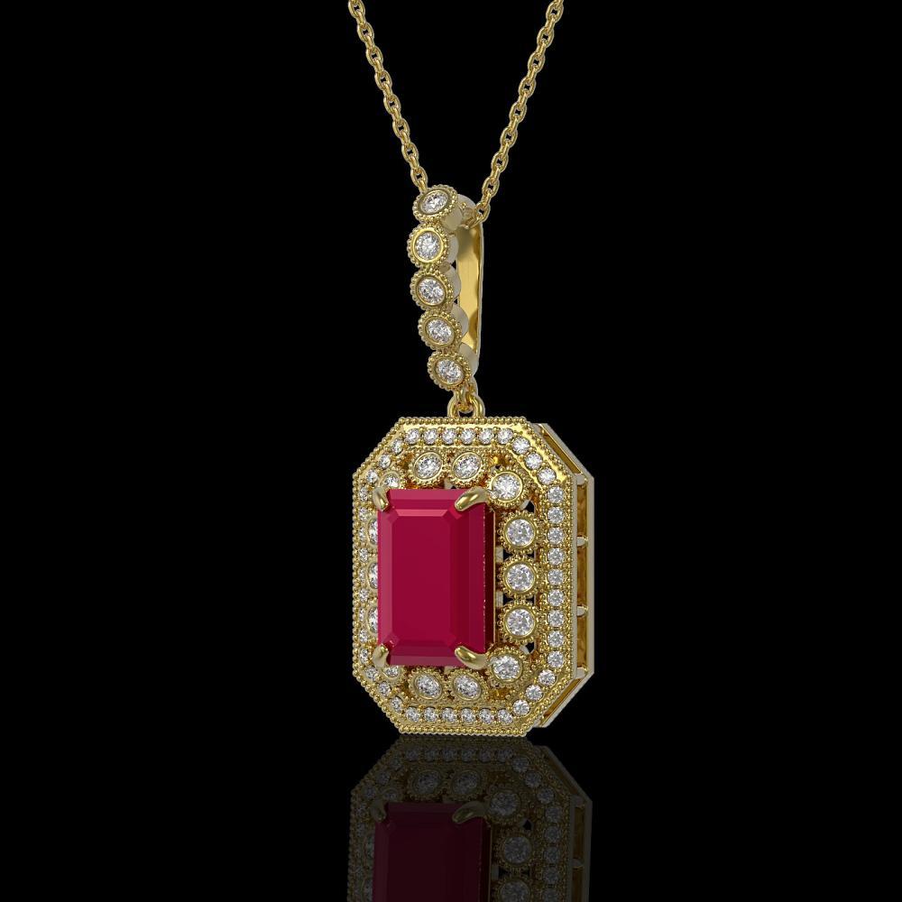 7.18 ctw Ruby & Diamond Necklace 14K Yellow Gold - REF-159V3Y - SKU:43441